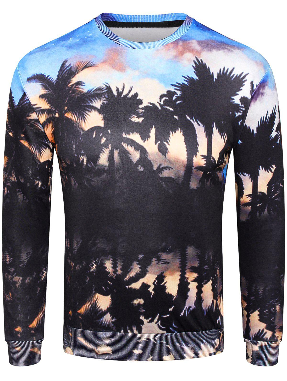 Crew Neck 3D Coconut Palm Print Pullover Sweatshirt hooded coconut palm print sweatshirt