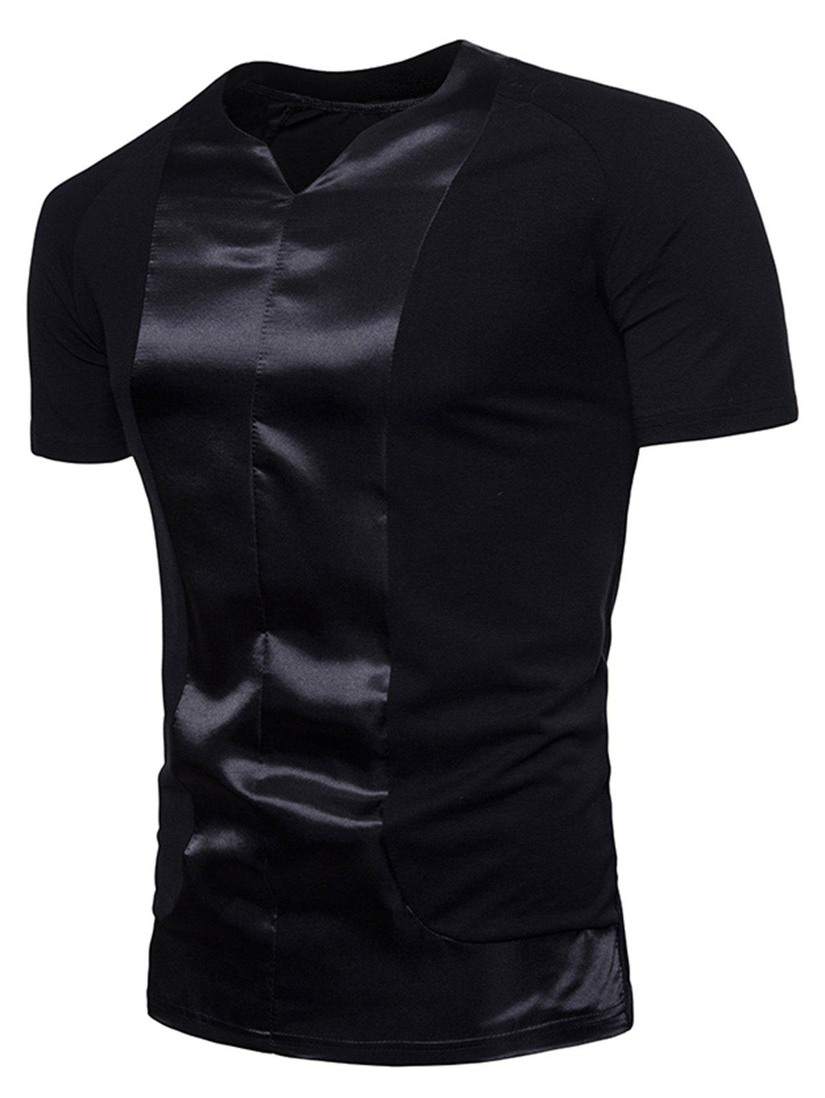 Crew Neck Satin Panel T-shirt - BLACK 2XL