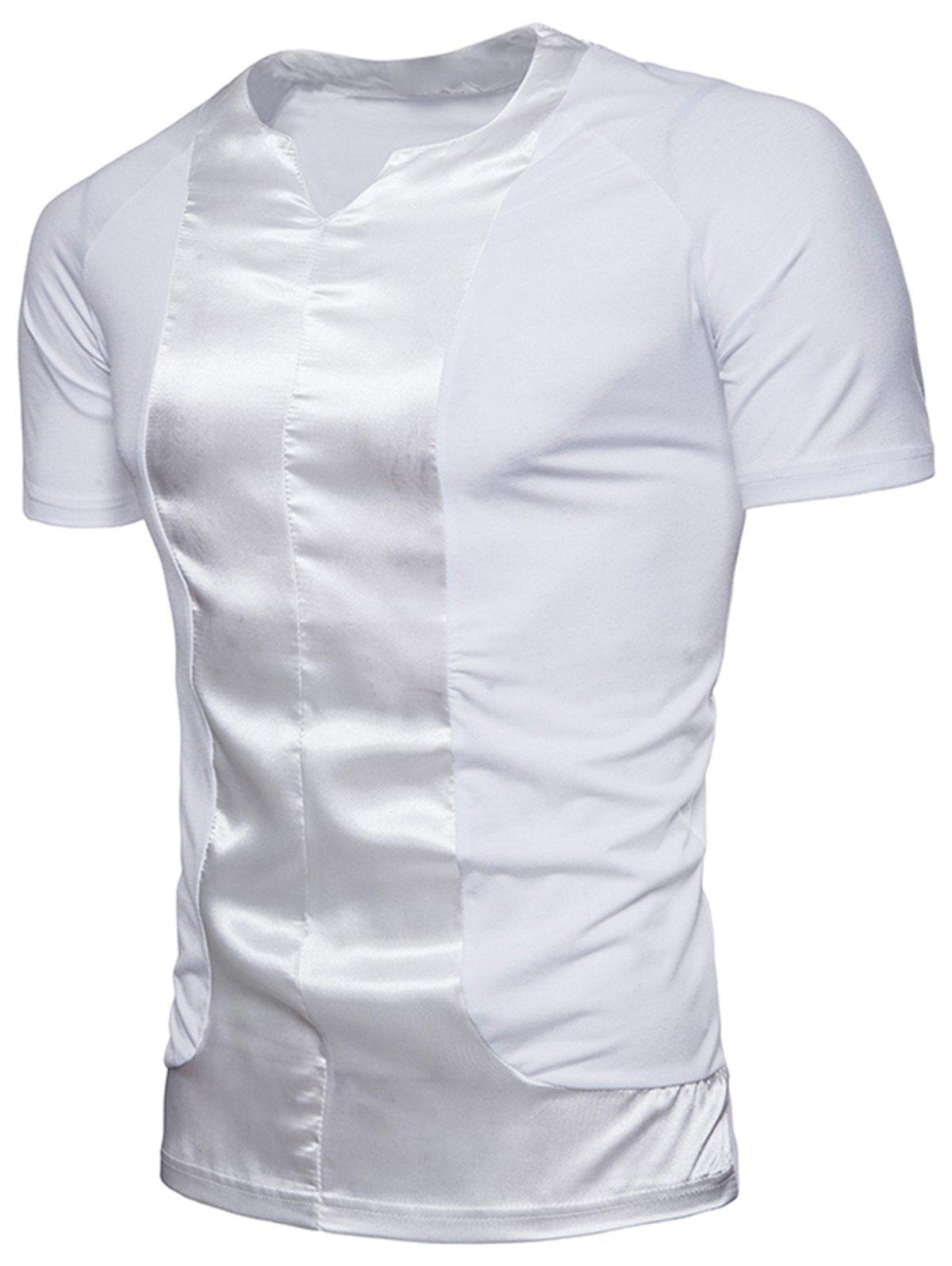 Crew Neck Satin Panel T-shirt - WHITE 3XL