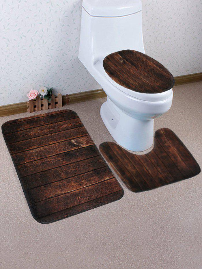 Retro Wood Grain Pattern 3 Pcs Bath Mat Toilet Mat wave sandbeach pattern 3 pcs bath mat toilet mat