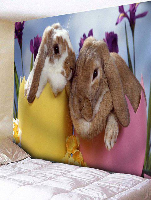 Bunny Lovers Print Wall Art Tapestry - multicolor W59 INCH * L59 INCH