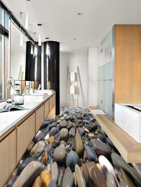 Cobblestones in the Water Printed Floor Stickers - GRAY DOLPHIN 3PCS: 20*39 INCH