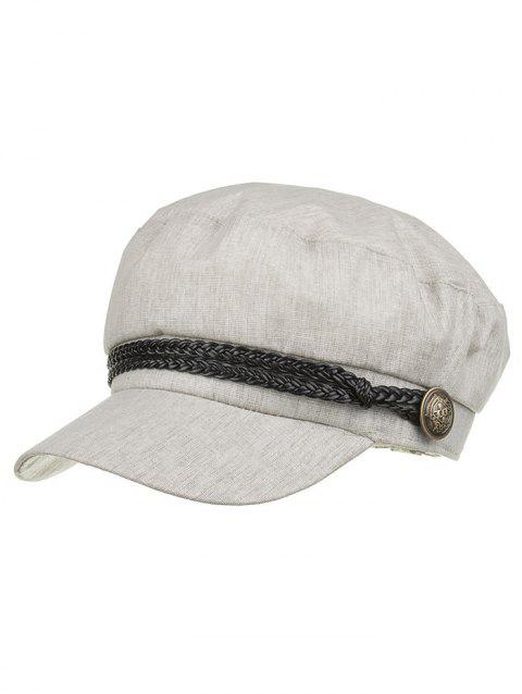 Unique Solid Color Button Beret - ASH GRAY