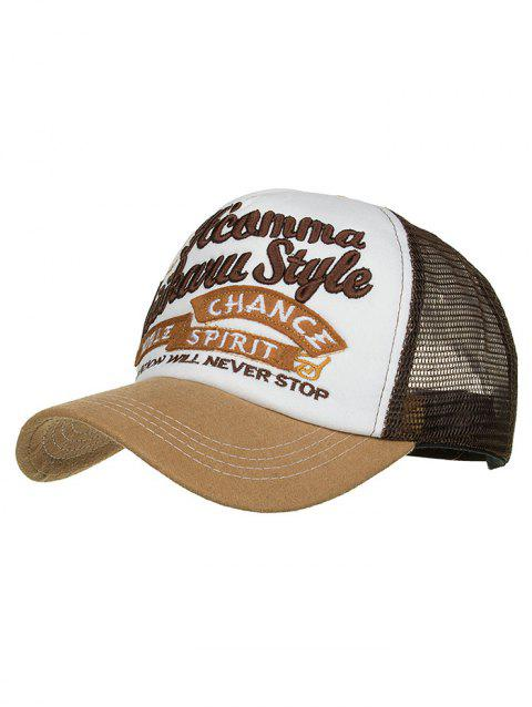 Letter Embroidery Breathable Mesh Baseball Hat - COFFEE