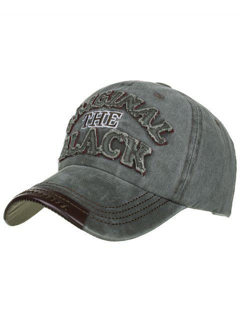 Letter Embroidery Washed Sunscreen Hat - FERN GREEN