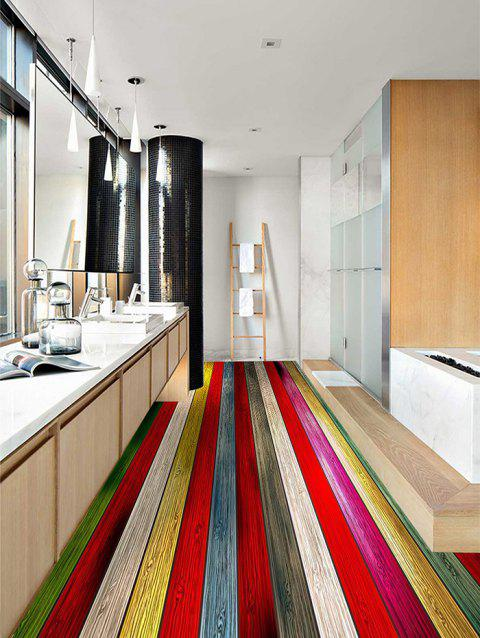 Colorful Wood Board Pattern Floor Stickers for Bathroom - multicolor 4PCS:20*39 INCH