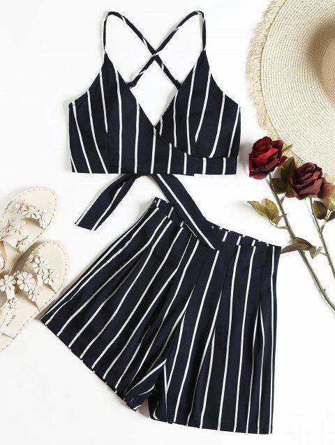 Stripe Wrap Cropped Cami Top And Shorts Set - DARK SLATE BLUE S