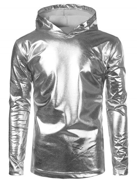 Metallic Color Long Sleeve Hooded Tee - SILVER S