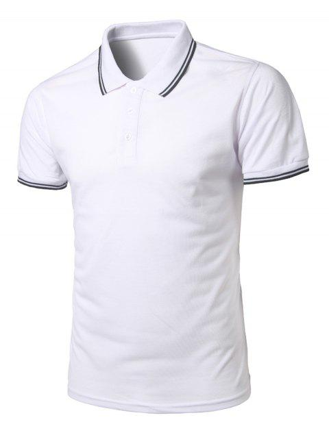 Short Sleeve Half Button Polo Shirt - WHITE 2XL
