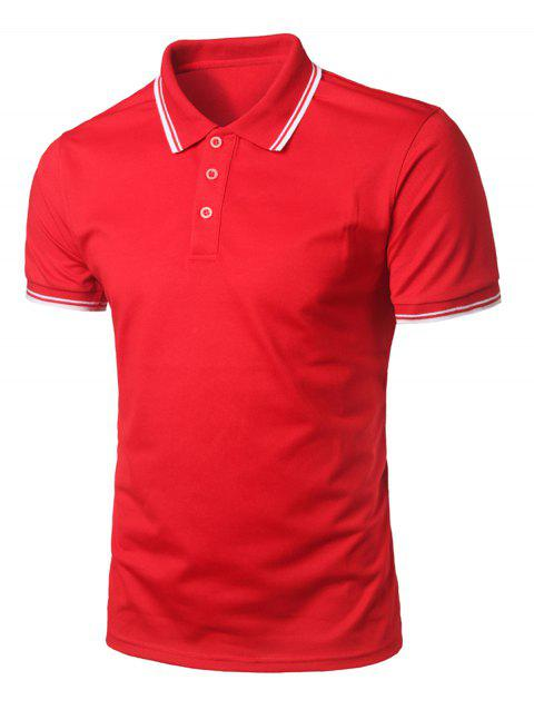 Short Sleeve Half Button Polo Shirt - LAVA RED M