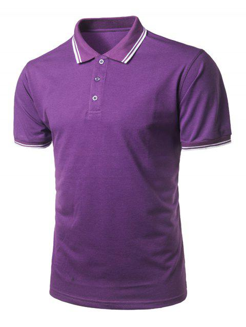 Short Sleeve Half Button Polo Shirt - PURPLE JAM L
