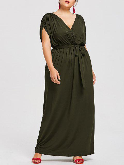 Plus Size Plunge Longline Dress With Belt - BLACKISH GREEN 3X
