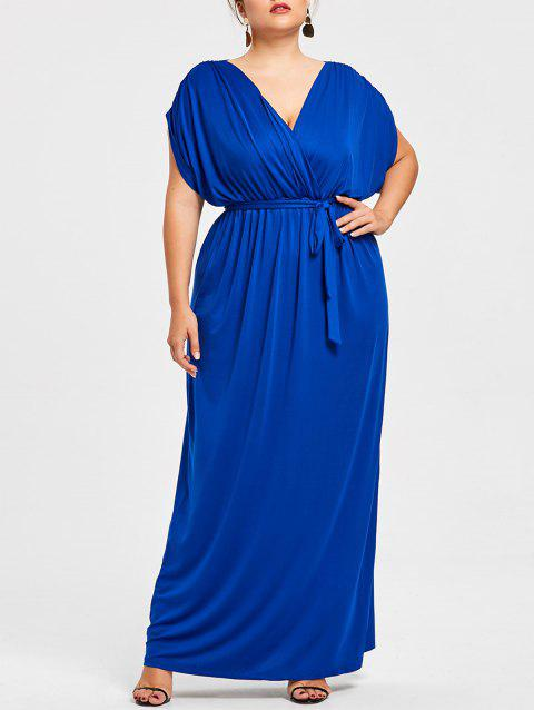 Plus Size Plunge Longline Dress With Belt - BLUE 3X
