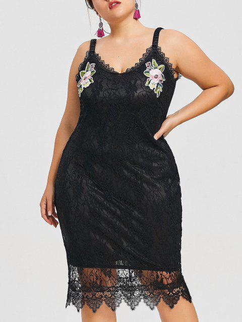 Plus Size Sleeveless Embroidered Lace Dress - BLACK 4XL