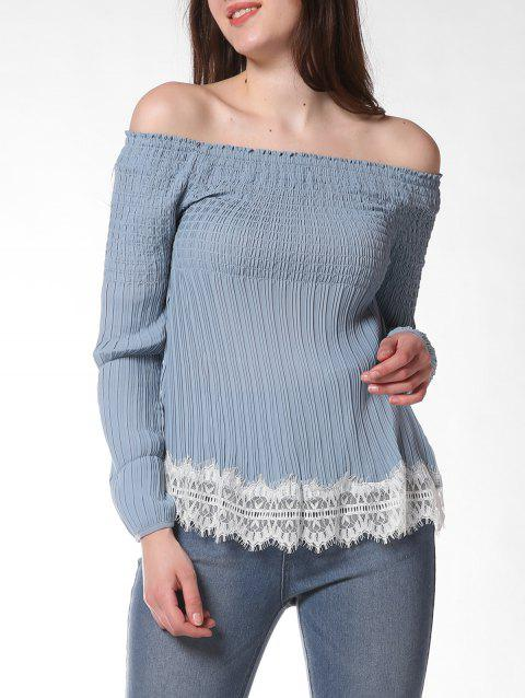FRENCH BAZAAR Off The Shoulder Long Sleeve Top - BABY BLUE S