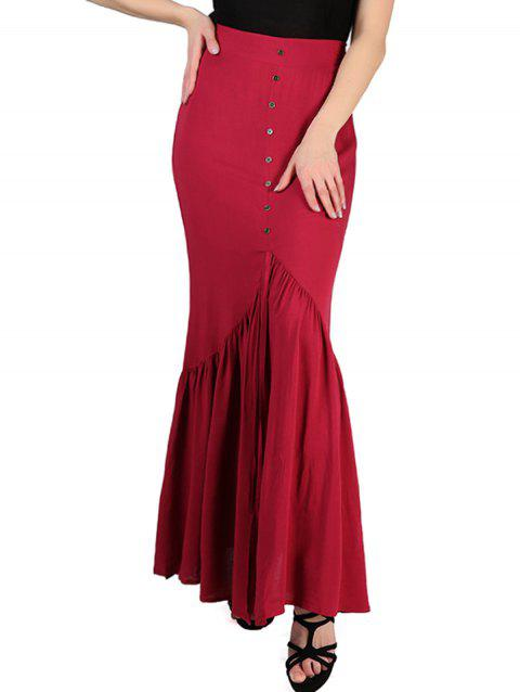 FRENCH BAZAAR High Waisted Long Pleated Button Skirt - RED XS