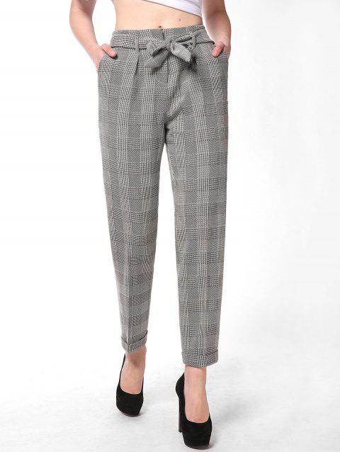 FRENCH BAZAAR Plaid Striped Casual Long Suit Pants With Pockets - LIGHT GREY L