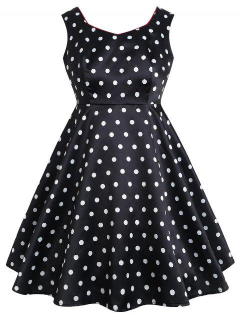 Plus Size Sweetheart Polka Dot Dress - BLACK 1X