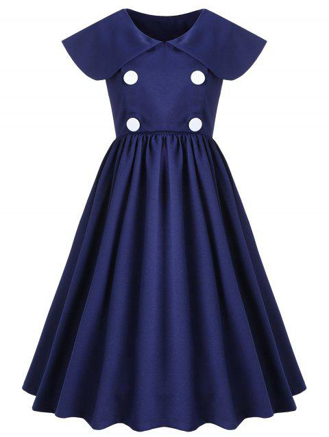 Double Breasted Peter Pan Neck Swing Dress - DENIM DARK BLUE M