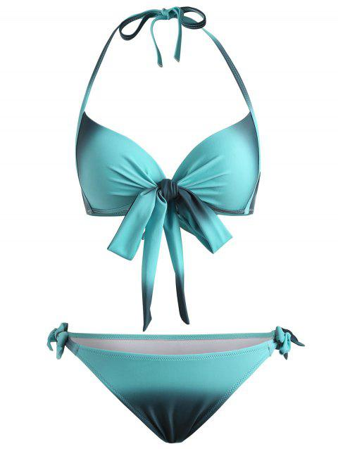 Front Bow Ombre Print Bikini Set - MACAW BLUE GREEN XL