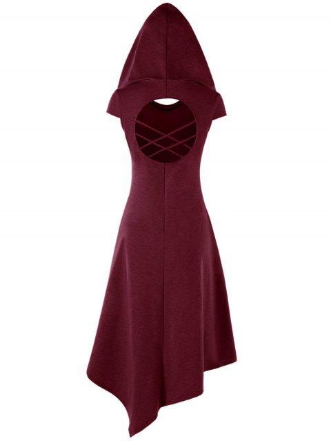 Hooded Criss Cross Cut Out Handkerchief Dress - WINE RED M