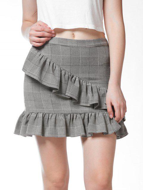 FRENCH BAZAAR Plaid Ruffle Mini Bodycon Skirt - LIGHT GREY L
