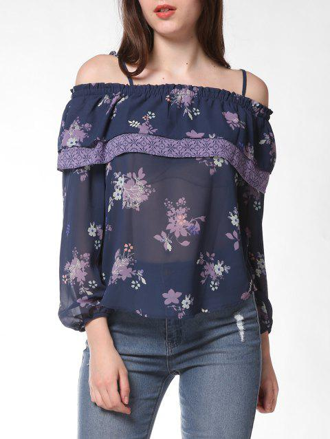 FRENCH BAZAAR Floral Print Strap Cold Shoulder Ruffle Blouse