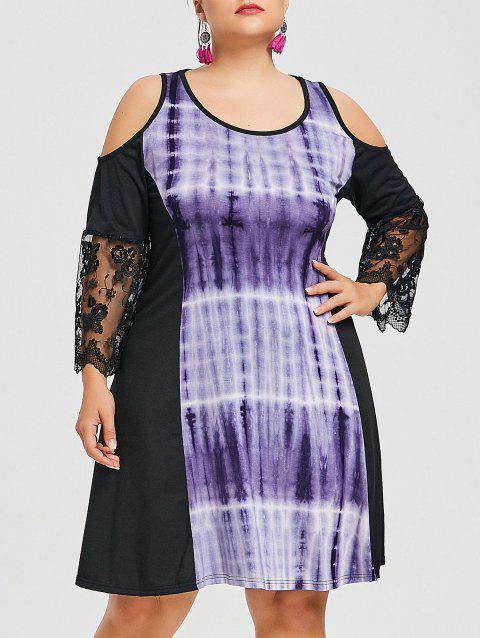Plus Size Cold Shoulder Illusion Print Dress - BLACK 4XL