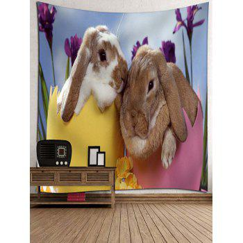 Bunny Lovers Print Wall Art Tapestry - multicolor W71 INCH * L71 INCH