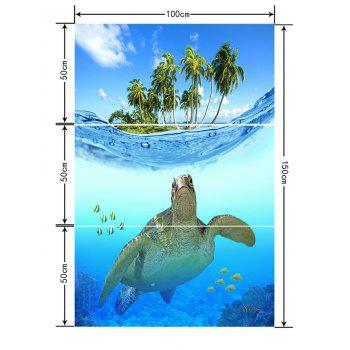 Submarine Turtle and Coconut Trees Print Floor Decals - BLUE ORCHID 3PCS: 20*39 INCH