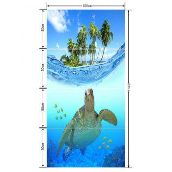 Submarine Turtle and Coconut Trees Print Floor Decals - BLUE ORCHID 4PCS:20*39 INCH