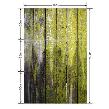 Old Painted Wooden Board Print Floor Stickers - AVOCADO GREEN 3PCS: 20*39 INCH