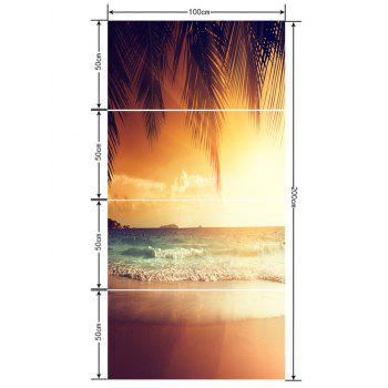 Waves Beach Coconut Tree Print Floor Stickers - CAMEL BROWN 4PCS:20*39 INCH