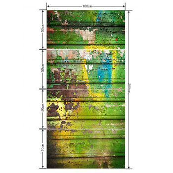 Old Wooden Board Printed Floor Decor Stickers - multicolor G 4PCS:20*39 INCH