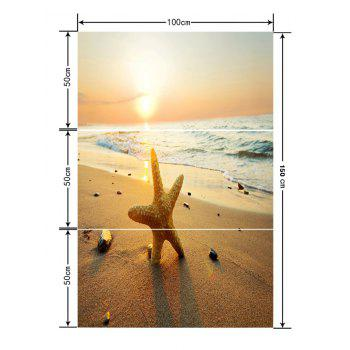 Beach Waves Starfish Printed Floor Stickers - CAMEL BROWN 3PCS: 20*39 INCH