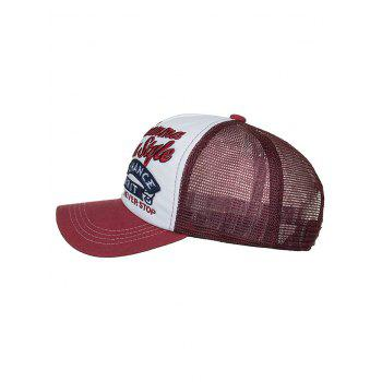 Letter Embroidery Breathable Mesh Baseball Hat - CHESTNUT RED