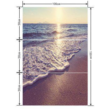 Beach Wave Print Floor Stickers for Bathroom - multicolor 3PCS: 20*39 INCH