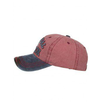 Letter Embroidery Washed Sunscreen Hat - CHESTNUT RED