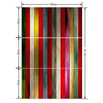 Colorful Wood Board Pattern Floor Stickers for Bathroom - multicolor 3PCS: 20*39 INCH