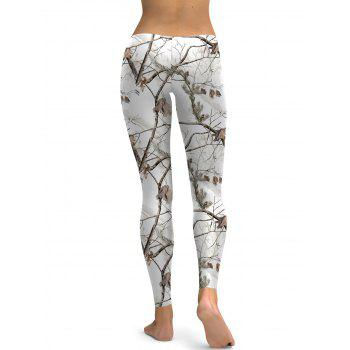 Branch Print Leggings - WHITE S
