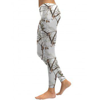 Branch Print Leggings - WHITE XL