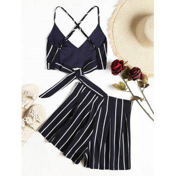 Stripe Wrap Cropped Cami Top And Shorts Set - DARK SLATE BLUE M