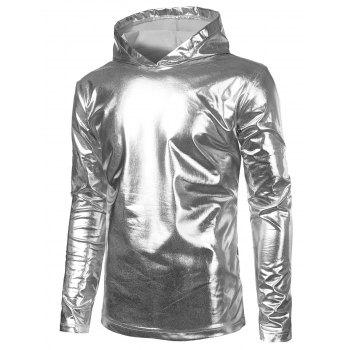 Metallic Color Long Sleeve Hooded Tee - SILVER L