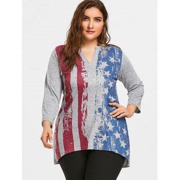 Plus Size American Flag Split Neck Tunic T-shirt - GRAY 2XL