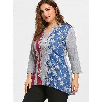 Plus Size American Flag Split Neck Tunic T-shirt - GRAY 5XL