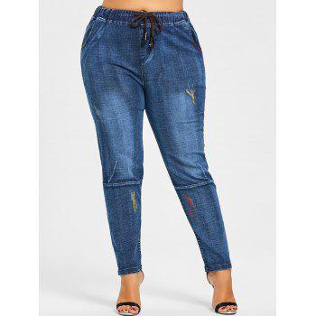 Back Pockets Glitter Embellished Plus Size Jeans - DENIM BLUE 3XL