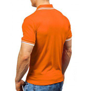 Short Sleeve Half Button Polo Shirt - ORANGE XL