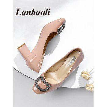 Lanbaoli Bright PU Leather Rhinestone Decorate High Heel Pumps - LIGHT PINK 39