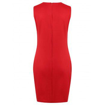 Side Ladder Cut Out Knee Length Dress - RED S