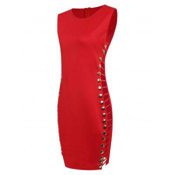 Side Ladder Cut Out Knee Length Dress - RED XL